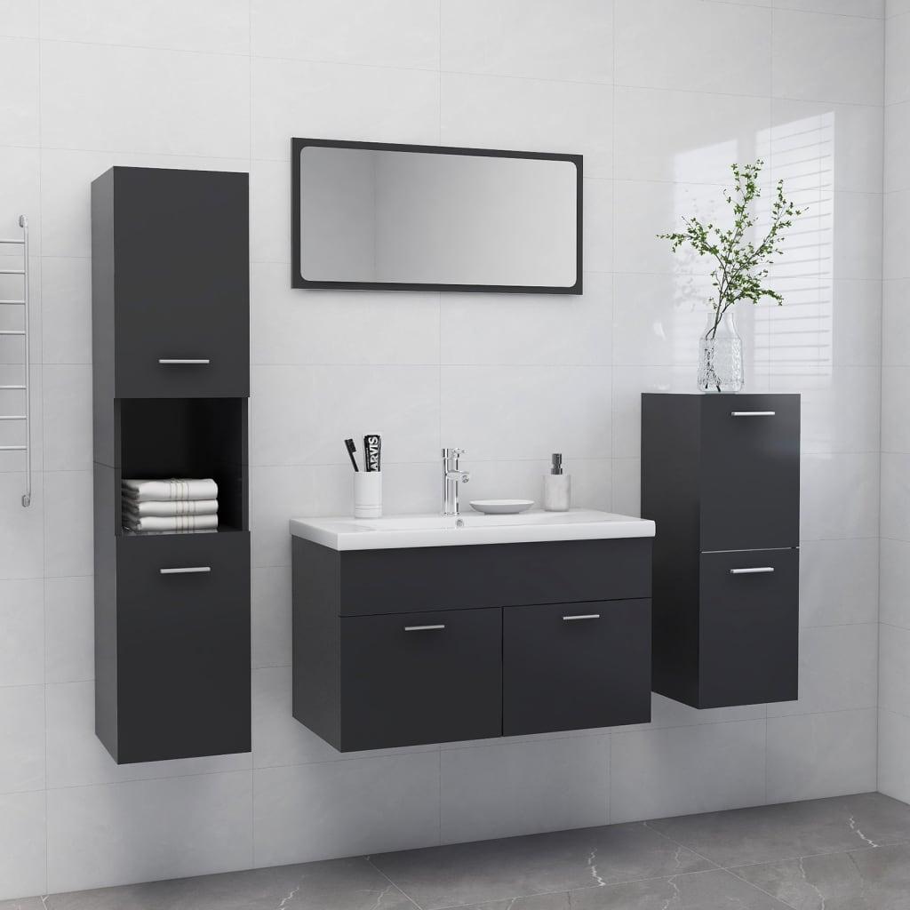 vidaXL Set kupaonskog namještaja od iverice sivi