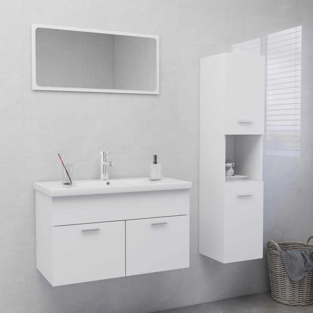 Set kupaonskog namještaja od iverice bijeli