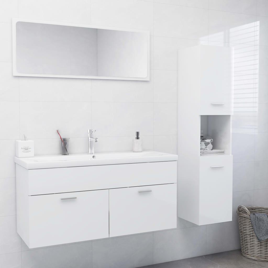 Set kupaonskog namještaja od iverice visoki sjaj bijeli
