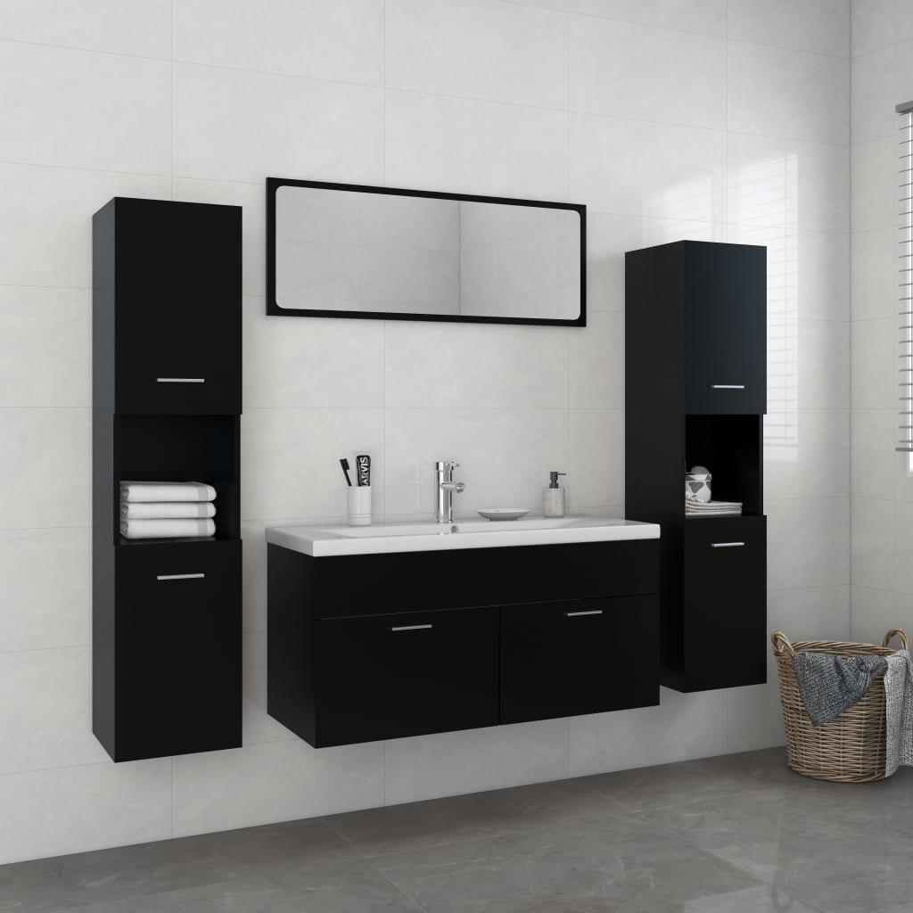 Set kupaonskog namještaja od iverice crni