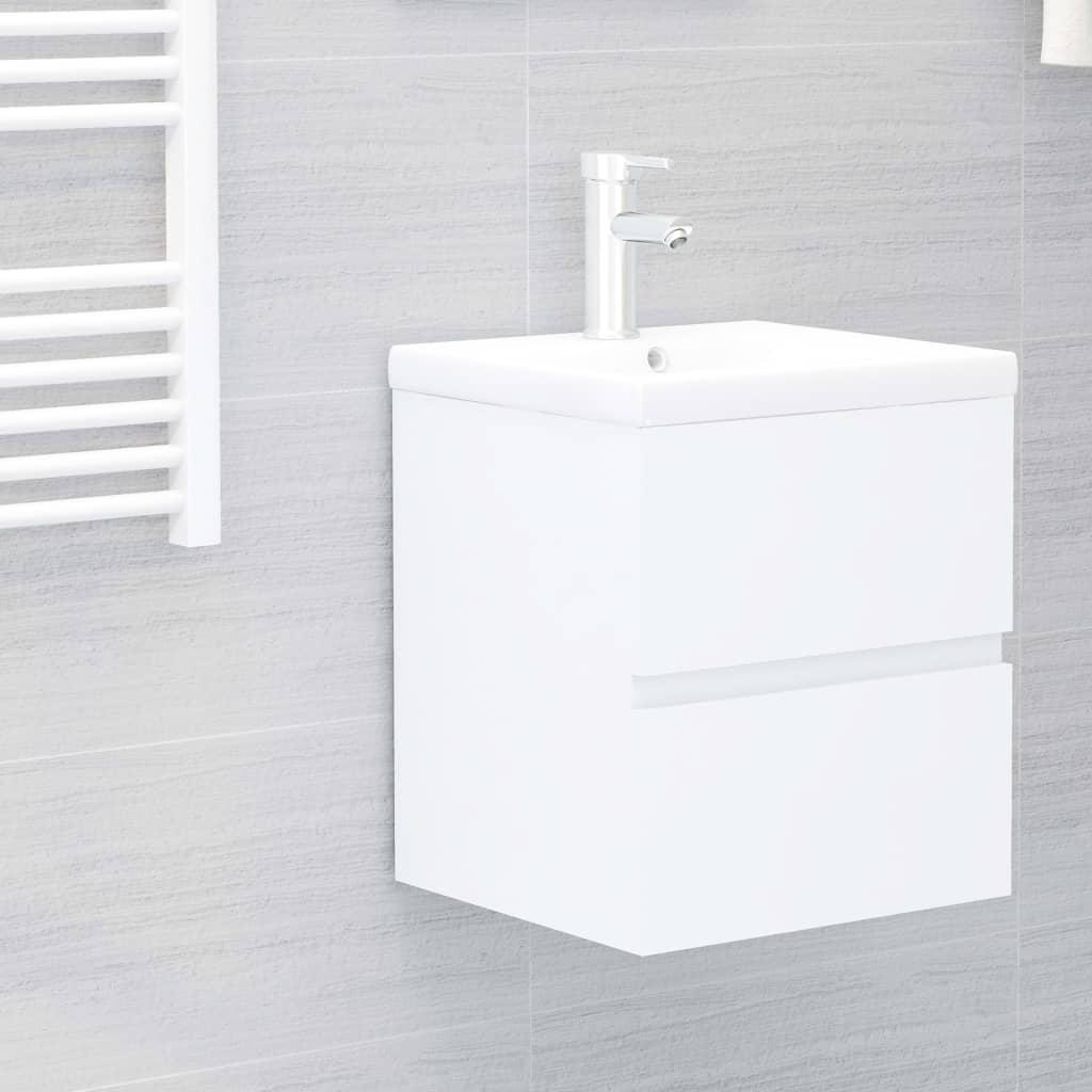 vidaXL Waschbeckenunterschrank mit Einbaubecken Weiß Spanplatte