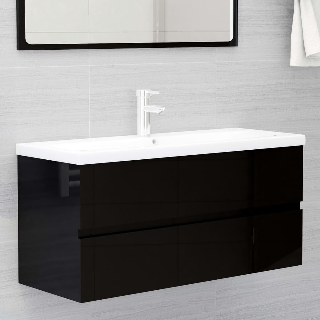 Waschbeckenunterschrank mit Einbaubecken Hochglanz-Schwarz