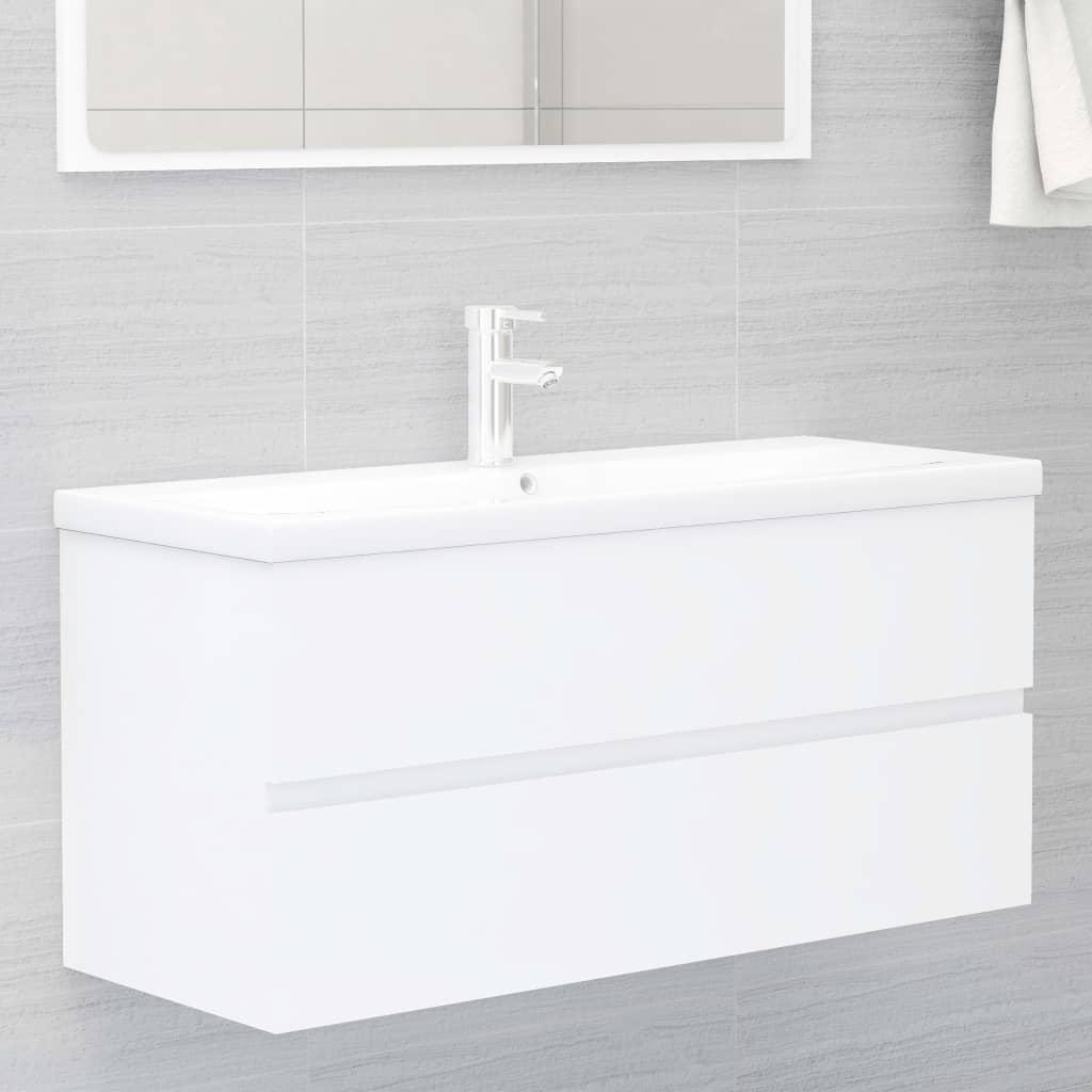 vidaXL Ormarić s ugrađenim umivaonikom bijeli od iverice