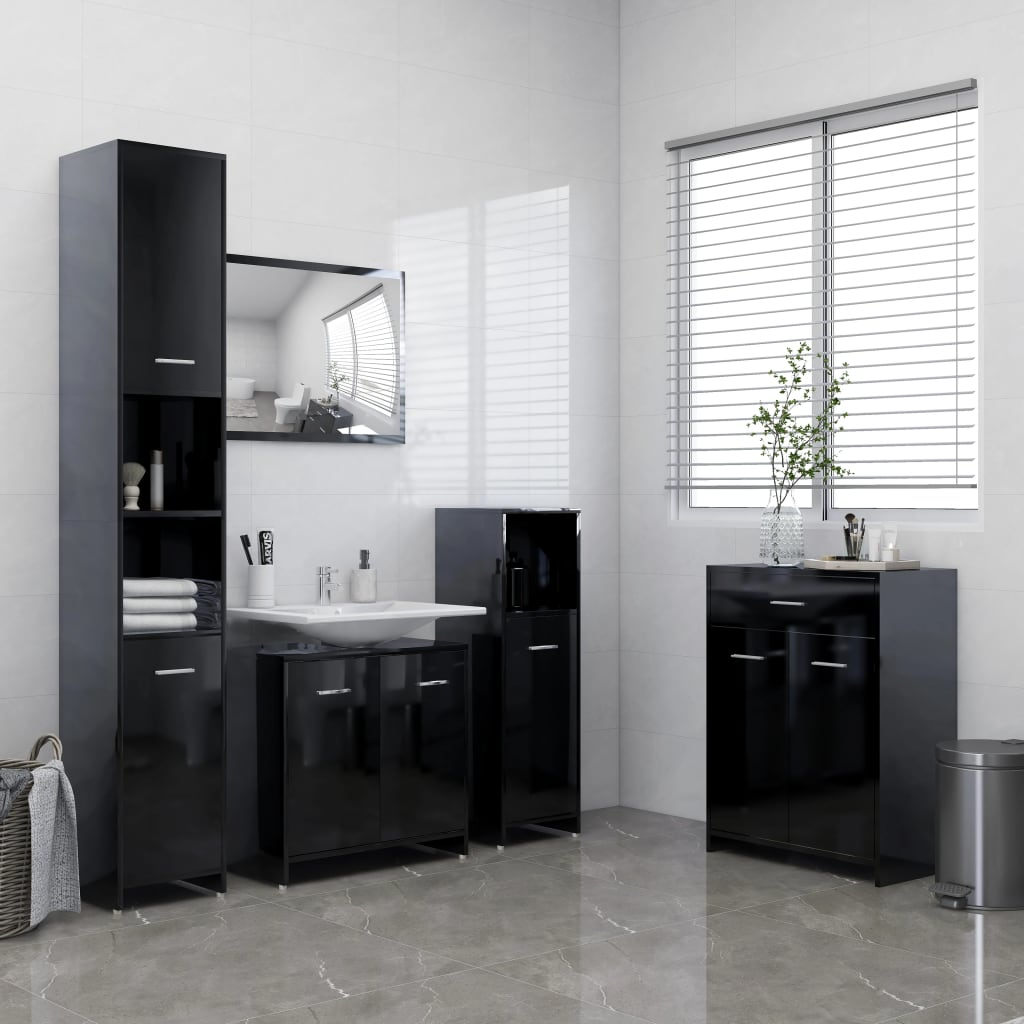 4-dijelni set kupaonskog namještaja visoki sjaj crni