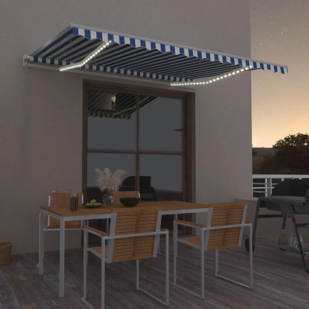vidaXL Luifel automatisch met LED en windsensor 450x350 cm blauw wit