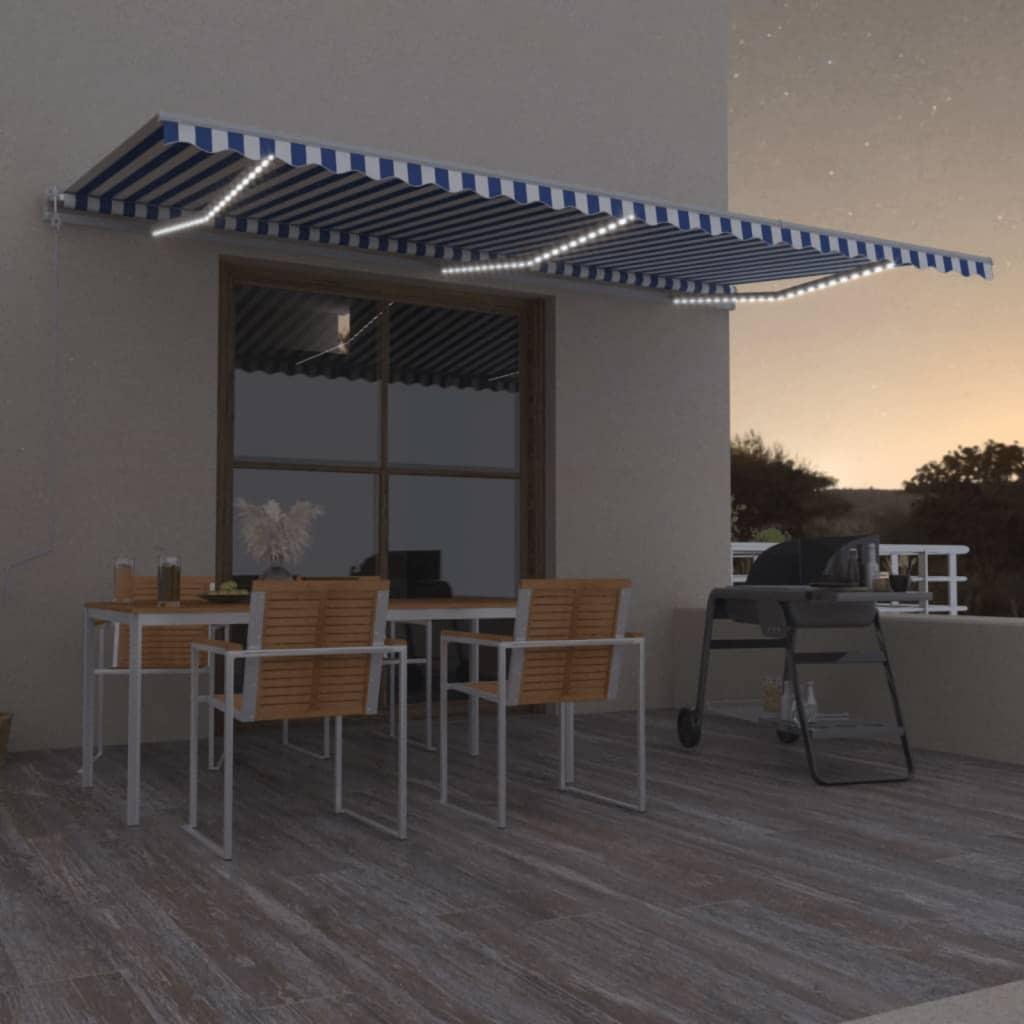 vidaXL Luifel automatisch met LED en windsensor 600x350 cm blauw wit
