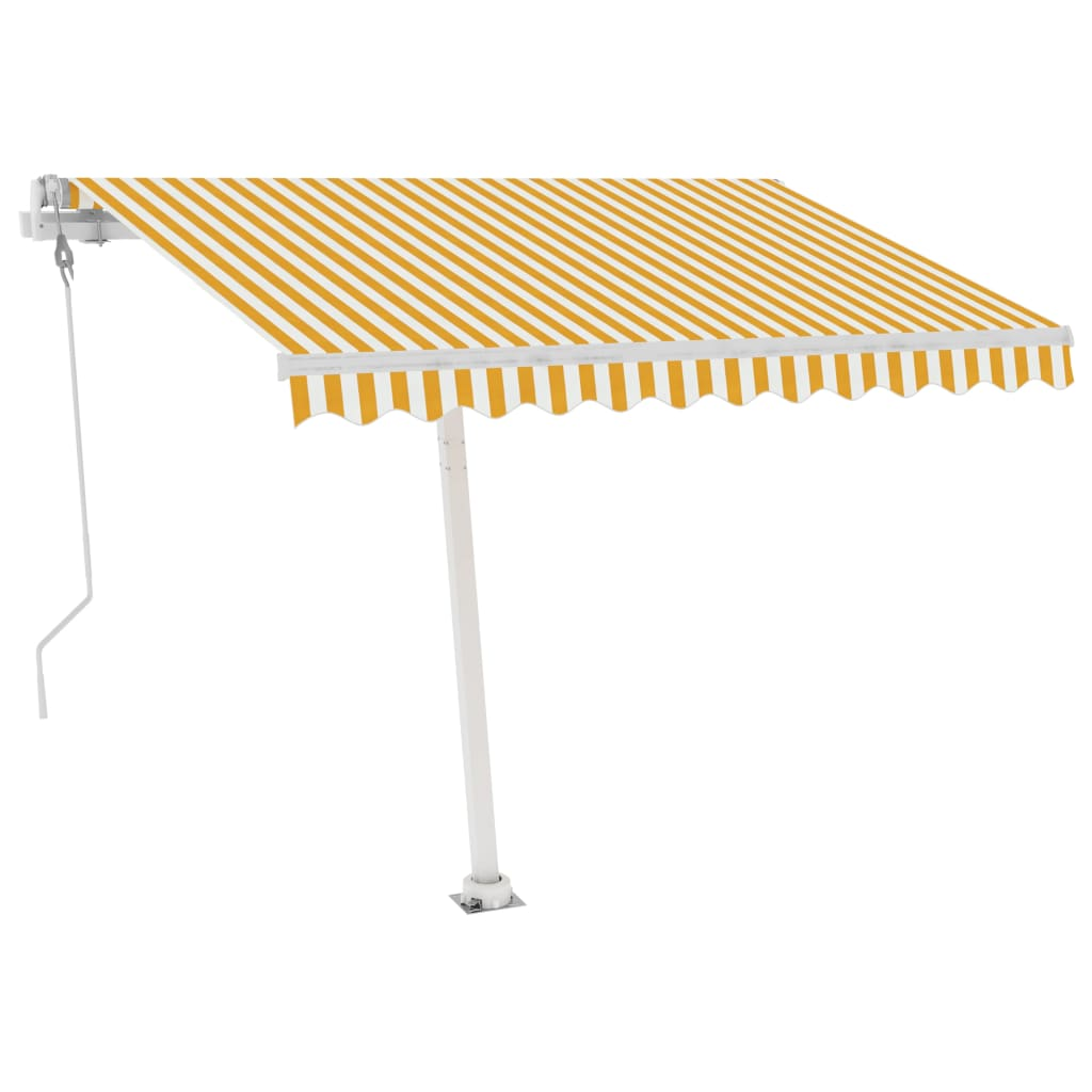 vidaXL Standmarkise Automatisch 350×250 cm Gelb/Weiß