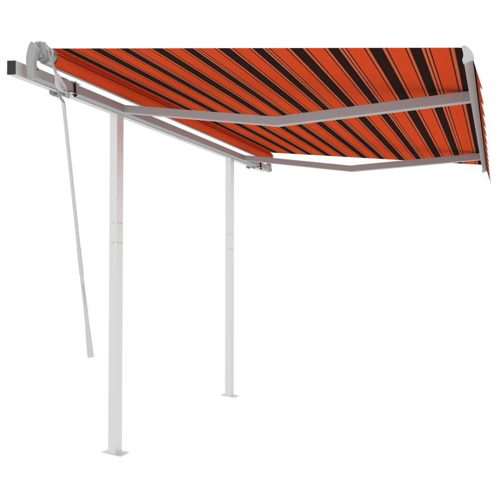 vidaXL Gelenkarmmarkise Einziehbar mit Pfosten 3×2,5 m Orange Braun