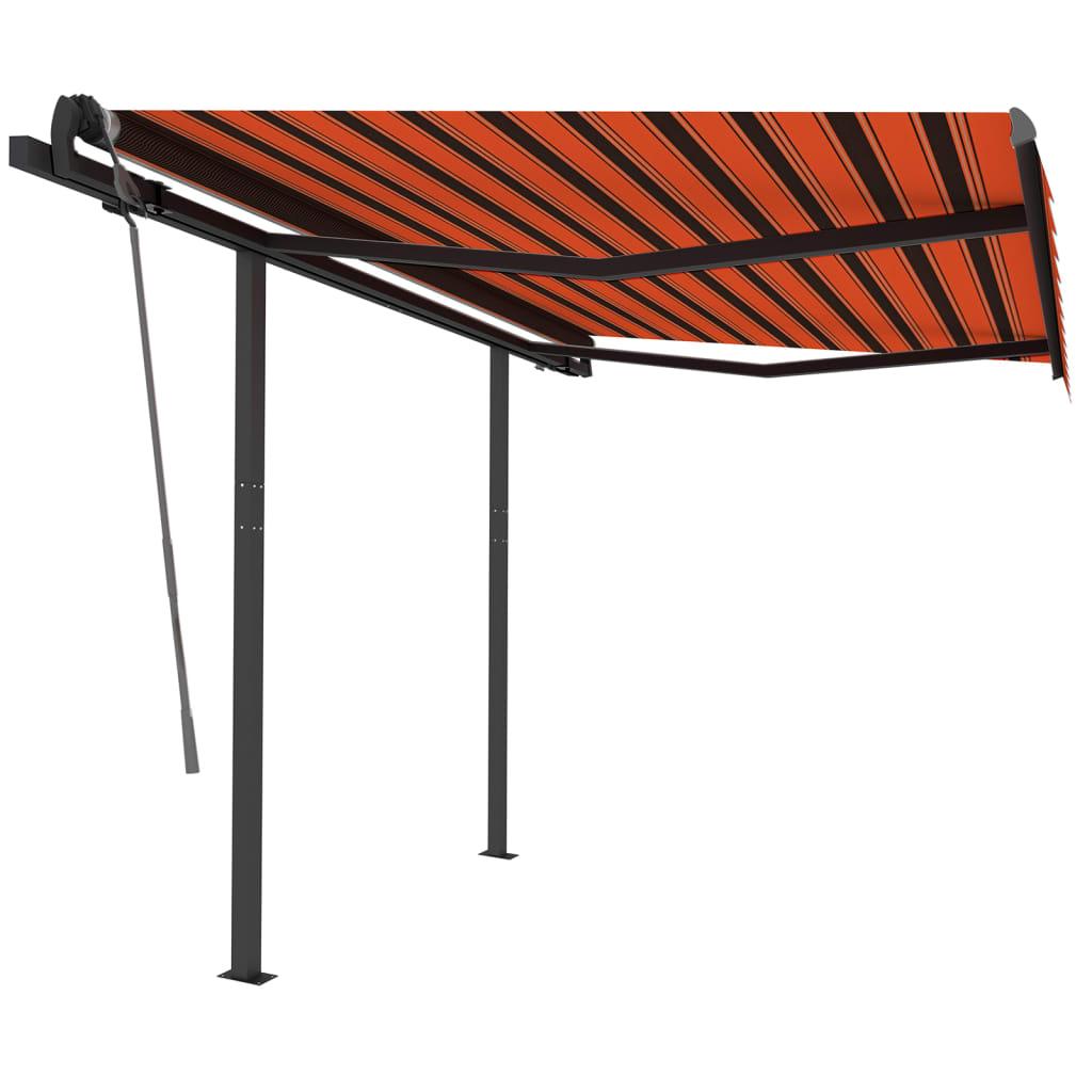 Gelenkarmmarkise Einziehbar mit Pfosten 3,5×2,5 m Orange Braun