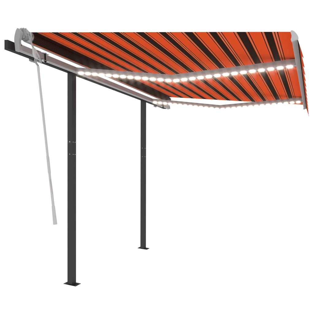 Automatische Markise mit LED & Windsensor 3,5×2,5m Orange Braun
