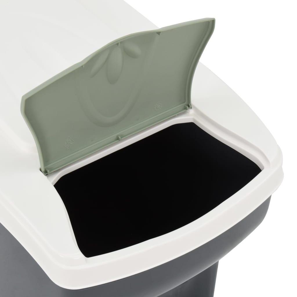 Afvalbakken 3 st stapelbaar 60 L donkergrijs