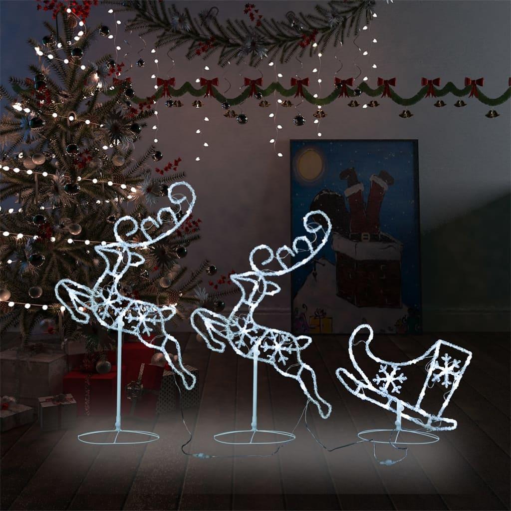 Kerstdecoratie rendieren en slee 260x21x87 cm acryl koudwit