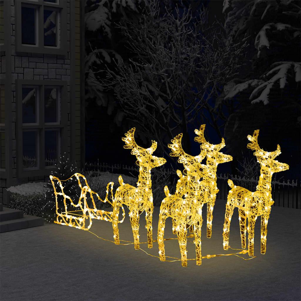 vidaXL juledekoration med rensdyr og kane 280x28x55 cm akryl