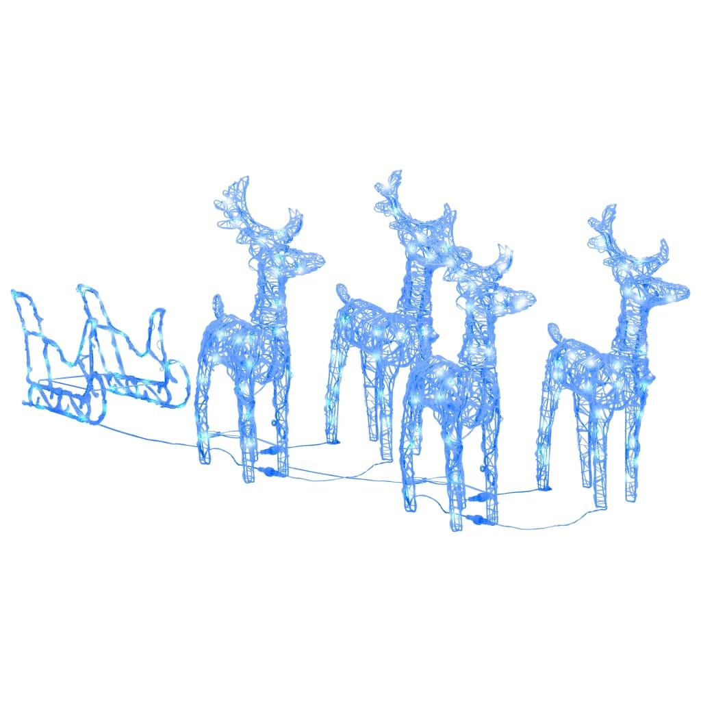 Kerstdecoratie rendieren en slee 280x28x55 cm acryl