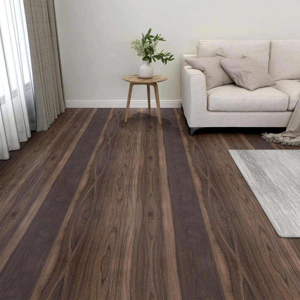 Samolepicí podlahové desky 20 ks PVC 1,86 m² tmavě hnědé