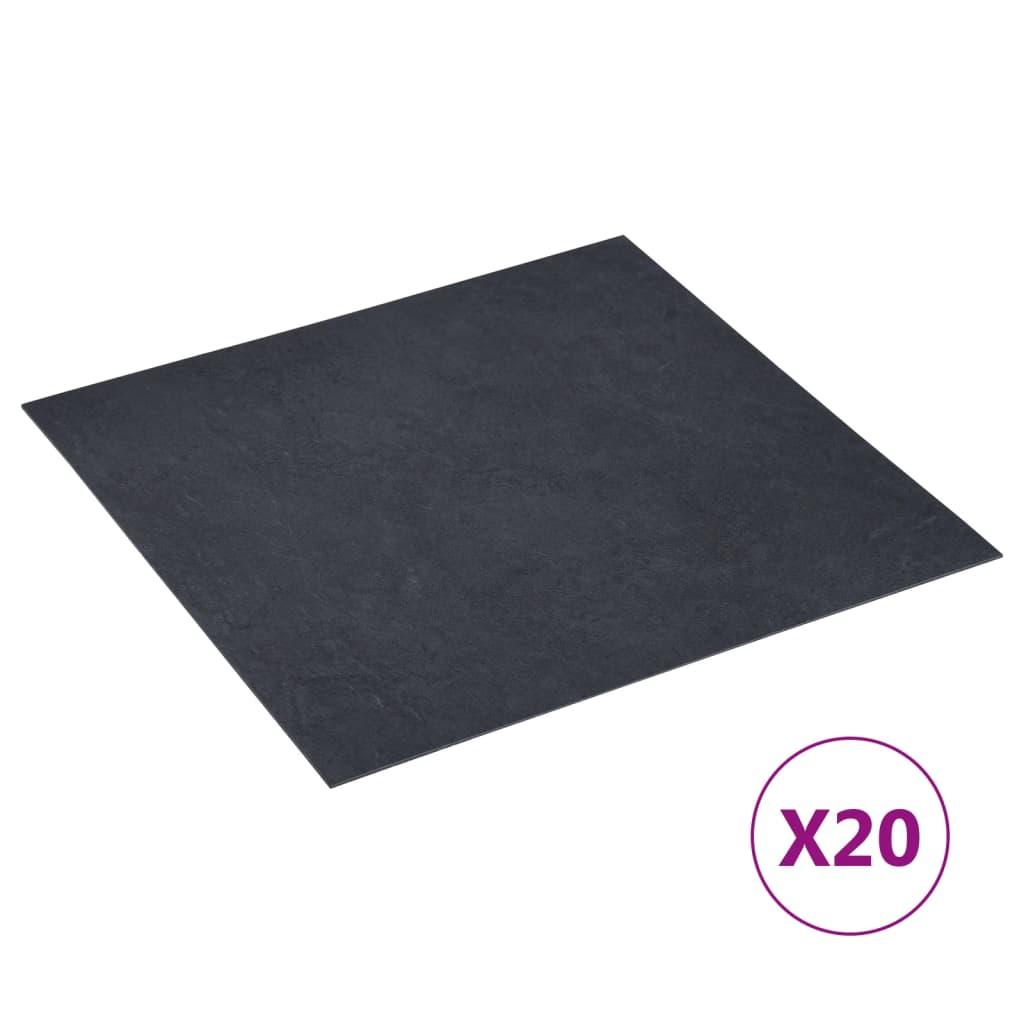Samolepicí podlahové desky 20 ks PVC 1,86 m² černý mramor