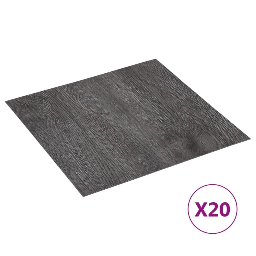 Samolepicí podlahové desky 20 ks PVC 1,86 m² hnědé