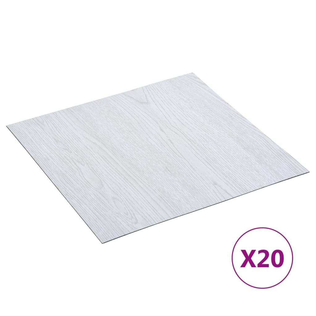 Samolepicí podlahové desky 20 ks PVC 1,86 m² bílé