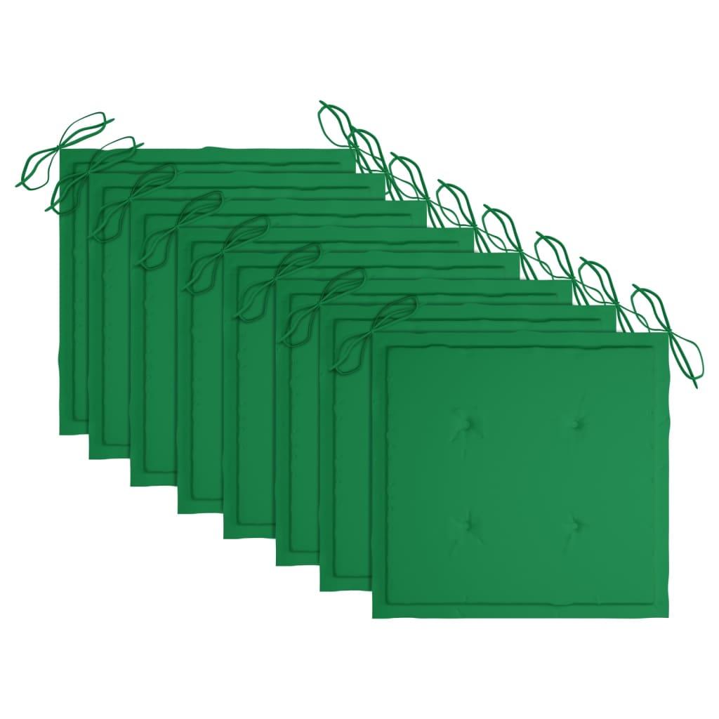 vidaXL Tuinstoelen 8 st met groene kussens massief teakhout