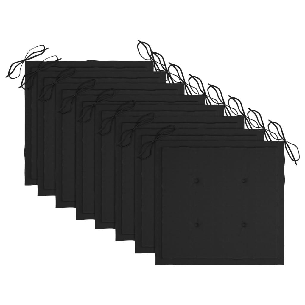 vidaXL Tuinstoelen 8 st met zwarte kussens massief teakhout