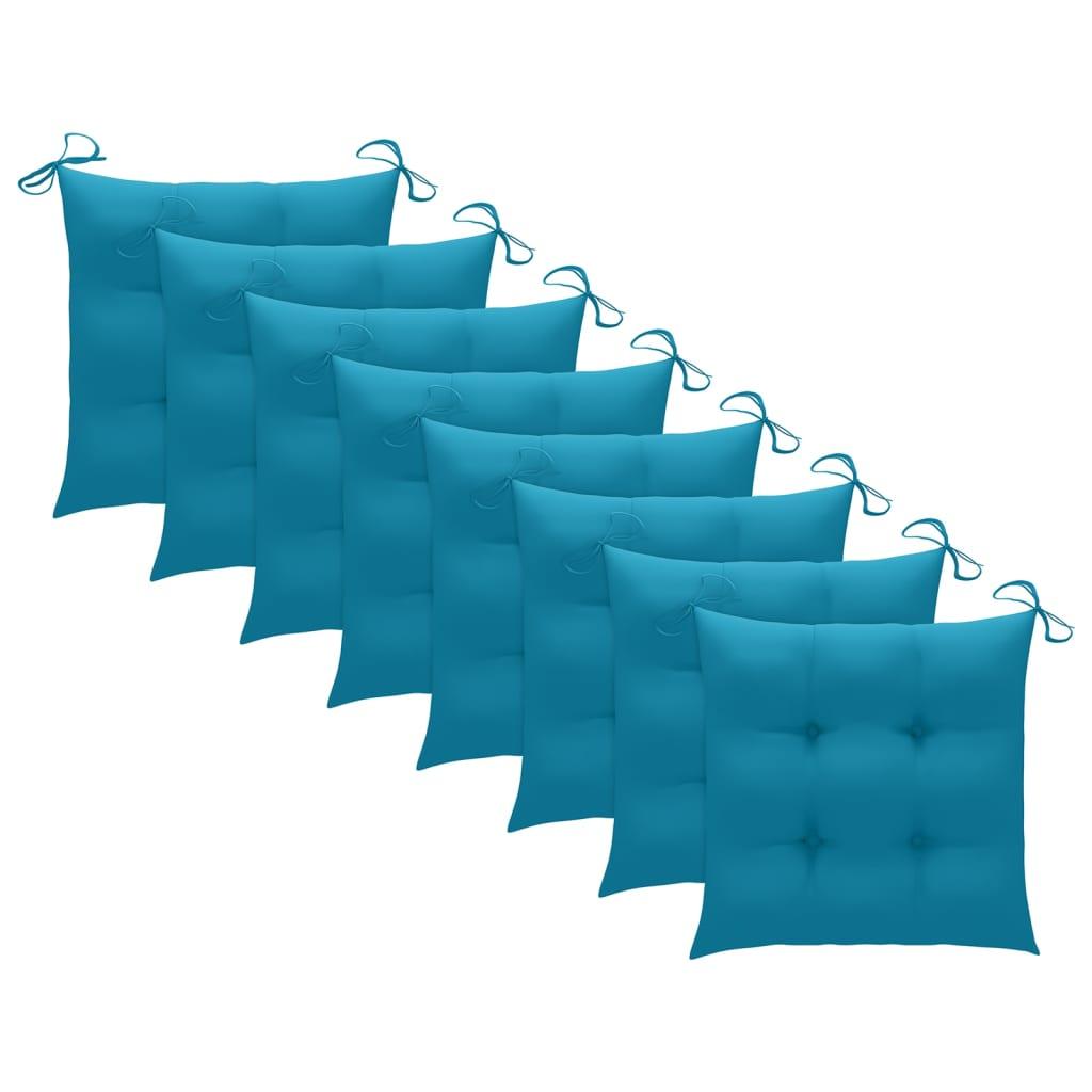 vidaXL Tuinstoelen 8 st met lichtblauwe kussens massief teakhout