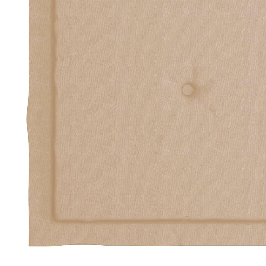 vidaXL Eetkamerstoelen 6 st met beige kussens massief teakhout