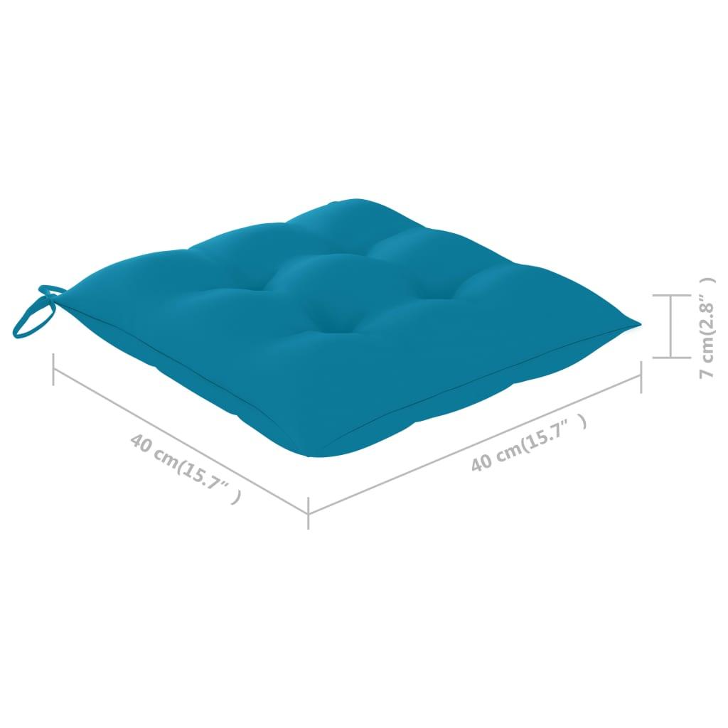 vidaXL Eetkamerstoelen 6 st met lichtblauwe kussens massief teakhout