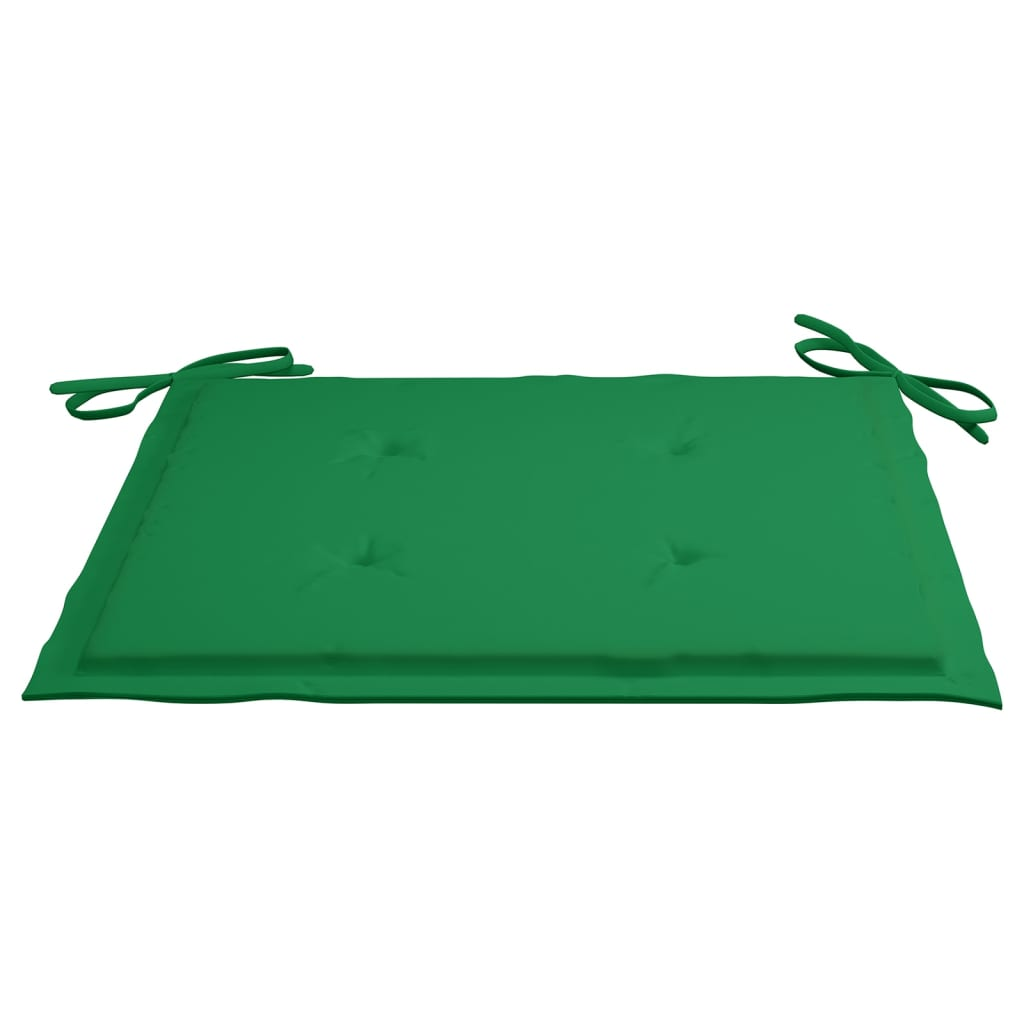 vidaXL Eetkamerstoelen 8 st met groene kussens massief teakhout