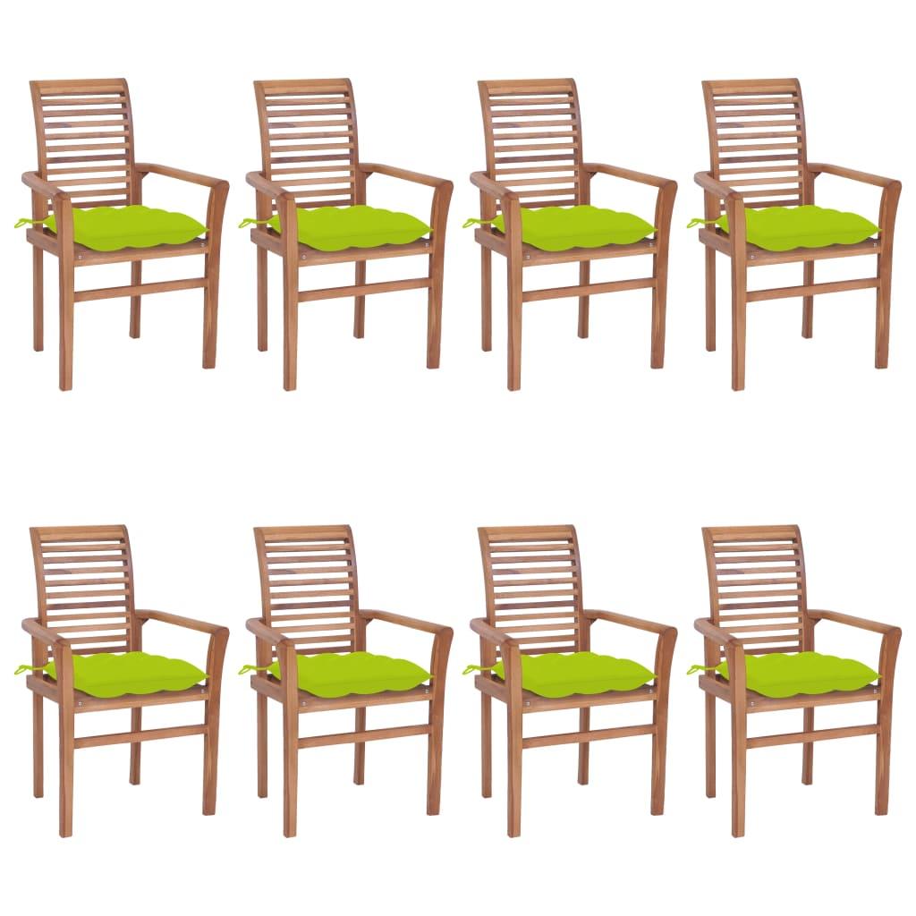 <ul><li>Kissenfarbe: Hellgrün</li><li>Material: Fein geschliffenes Teakholz mit Lack auf Wasserbasis</li><li>Kissen-Material: Stoff (100% Polyester)</li><li>Abmessungen: 62 x 56,5 x 94 cm (B x T x H)</li><li>Sitzbreite: 47 cm</li><li>Sitztiefe: 45,5 cm</li><li>Sitzhöhe vom Boden: 45 cm</li><li>Armlehnenhöhe vom Boden: 64 cm</li><li>Kissenabmessungen: 40 x 40 x 7 cm (L x B x H)</li><li>Geeignet für den Innen- und Außenbereich</li><li>Montage erforderlich: Ja</li><li><strong>Lieferung enthält:</strong></li><li>8 x Gartenstuhl</li><li>8 x Kissen</li></ul>