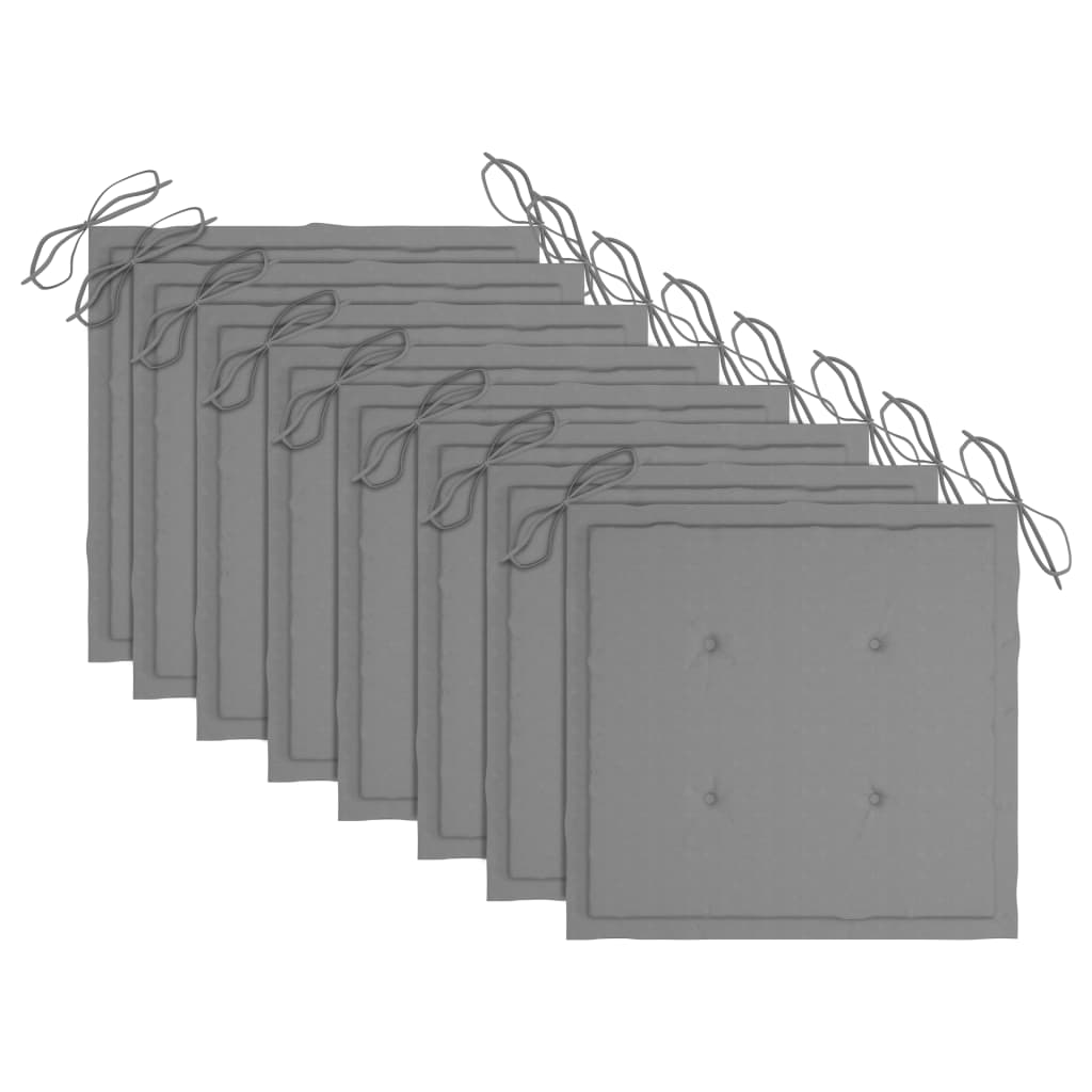 vidaXL Tuinstoelen 8 st met grijze kussens massief teakhout