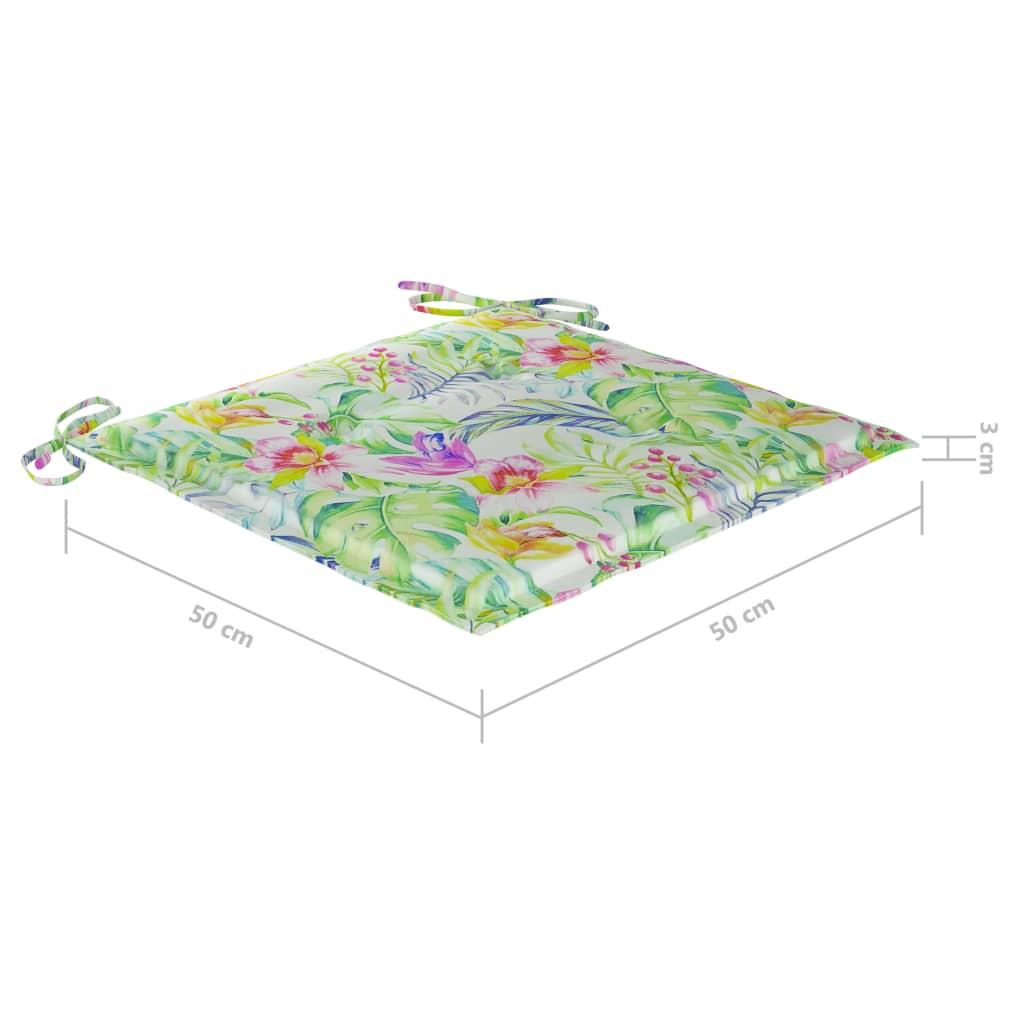 vidaXL Tuinstoelen 8 st met bladpatroon kussens massief teakhout