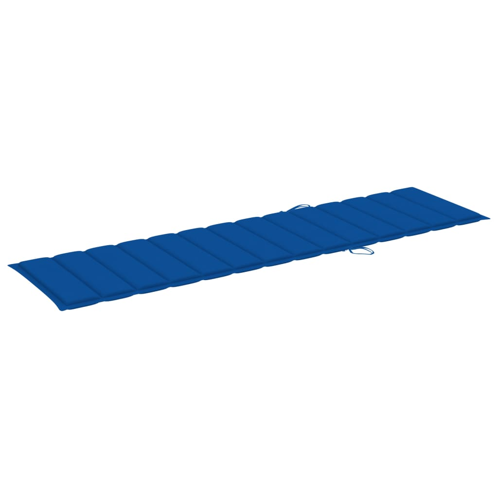 Ligbedden 2 st met koningsblauwe kussens massief teakhout