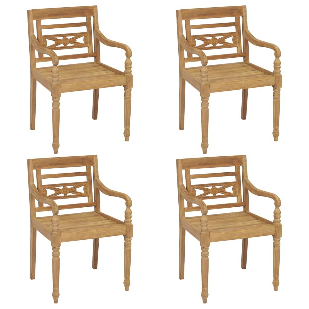 <ul><li>Material: Fein geschliffenes Teak-Massivholz</li><li>Abmessungen: 55 x 51,5 x 84 cm (B x T x H)</li><li>Sitztiefe: 51,5 cm</li><li>Sitzhöhe vom Boden: 45 cm</li><li>Armlehnenhöhe vom Boden: 64 cm</li><li>Montage erforderlich: Ja</li><li><strong>Lieferung enthält:</strong></li><li>4 x Stühle</li></ul>