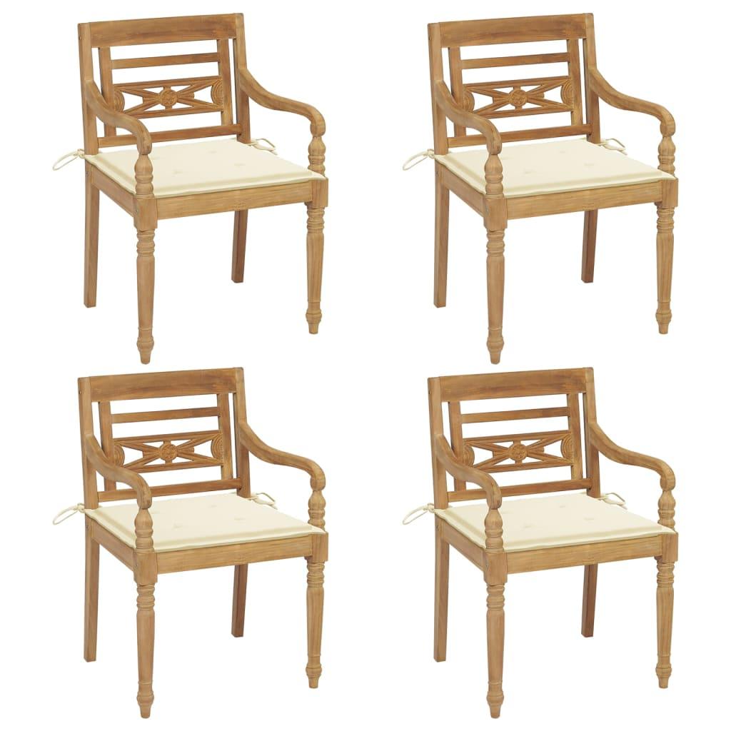 <ul><li>Sitzpolster-Farbe: Cremeweiß</li><li>Material des Stuhls: fein geschliffenes Teak-Massivholz</li><li>Kissen-Material: Stoff (100% Polyester)</li><li>Abmessungen des Stuhls: 55 x 51,5 x 84 cm (B x T x H)</li><li>Abmessungen des Kissens: 50 x 50 x 4 cm (L x B x T)</li><li>Sitztiefe: 51,5 cm</li><li>Sitzhöhe vom Boden: 45 cm</li><li>Armlehnenhöhe vom Boden: 64 cm</li><li>Mit 2 Bänder-Sets</li><li>Montage erforderlich: Ja</li><li><strong>Lieferung enthält:</strong></li><li>4 x Stühle</li><li>4 x Sitzkissen</li></ul>