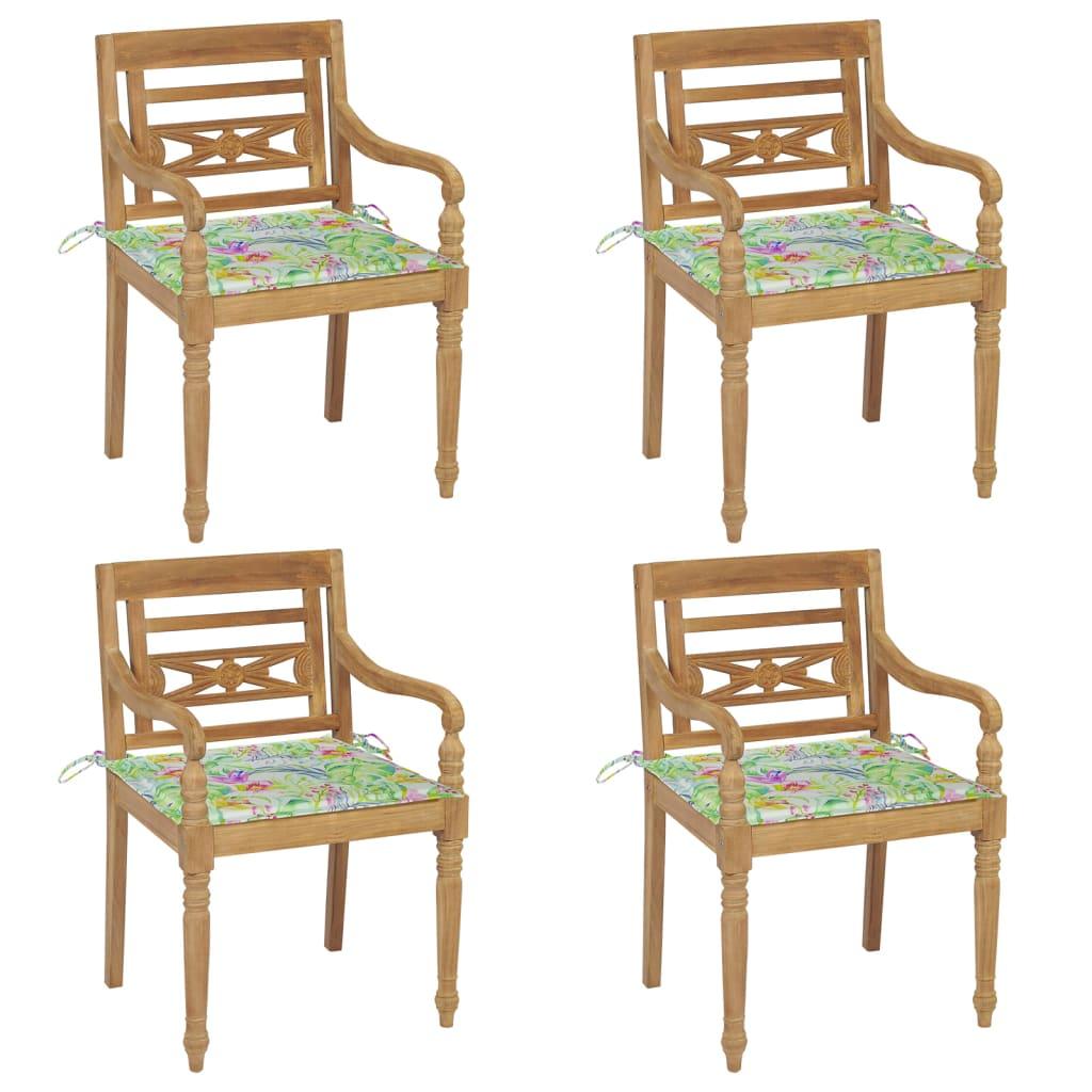 <ul><li>Material des Stuhls: fein geschliffenes Teak-Massivholz</li><li>Kissen-Material: Stoff (100% Polyester)</li><li>Abmessungen des Stuhls: 55 x 51,5 x 84 cm (B x T x H)</li><li>Abmessungen des Kissens: 50 x 50 x 4 cm (L x B x T)</li><li>Sitztiefe: 51,5 cm</li><li>Sitzhöhe vom Boden: 45 cm</li><li>Armlehnenhöhe vom Boden: 64 cm</li><li>Mit 2 Bänder-Sets</li><li>Mit Blattmuster</li><li>Montage erforderlich: Ja</li><li><strong>Lieferung enthält:</strong></li><li>4 x Stühle</li><li>4 x Sitzkissen</li></ul>