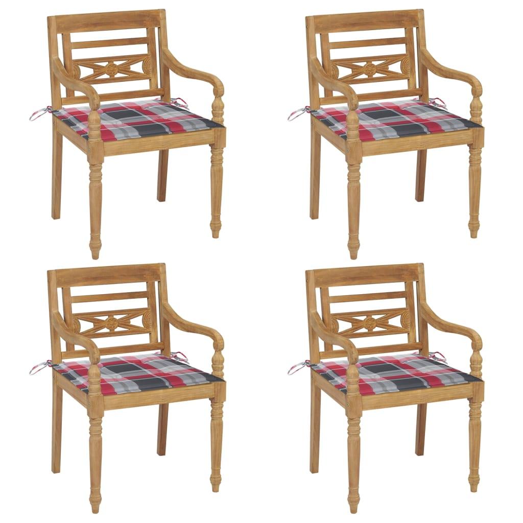 <ul><li>Material des Stuhls: fein geschliffenes Teak-Massivholz</li><li>Kissen-Material: Stoff (100% Polyester)</li><li>Abmessungen des Stuhls: 55 x 51,5 x 84 cm (B x T x H)</li><li>Abmessungen des Kissens: 50 x 50 x 4 cm (L x B x T)</li><li>Sitztiefe: 51,5 cm</li><li>Sitzhöhe vom Boden: 45 cm</li><li>Armlehnenhöhe vom Boden: 64 cm</li><li>Mit 2 Bänder-Sets</li><li>Mit rotem Karomuster</li><li>Montage erforderlich: Ja</li><li><strong>Lieferung enthält:</strong></li><li>4 x Stühle</li><li>4 x Sitzkissen</li></ul>