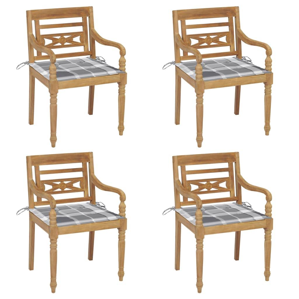 <ul><li>Material des Stuhls: fein geschliffenes Teak-Massivholz</li><li>Kissen-Material: Stoff (100% Polyester)</li><li>Abmessungen des Stuhls: 55 x 51,5 x 84 cm (B x T x H)</li><li>Abmessungen des Kissens: 50 x 50 x 4 cm (L x B x T)</li><li>Sitztiefe: 51,5 cm</li><li>Sitzhöhe vom Boden: 45 cm</li><li>Armlehnenhöhe vom Boden: 64 cm</li><li>Mit 2 Bänder-Sets</li><li>Mit grauem Karomuster</li><li>Montage erforderlich: Ja</li><li><strong>Lieferung enthält:</strong></li><li>4 x Stühle</li><li>4 x Sitzkissen</li></ul>