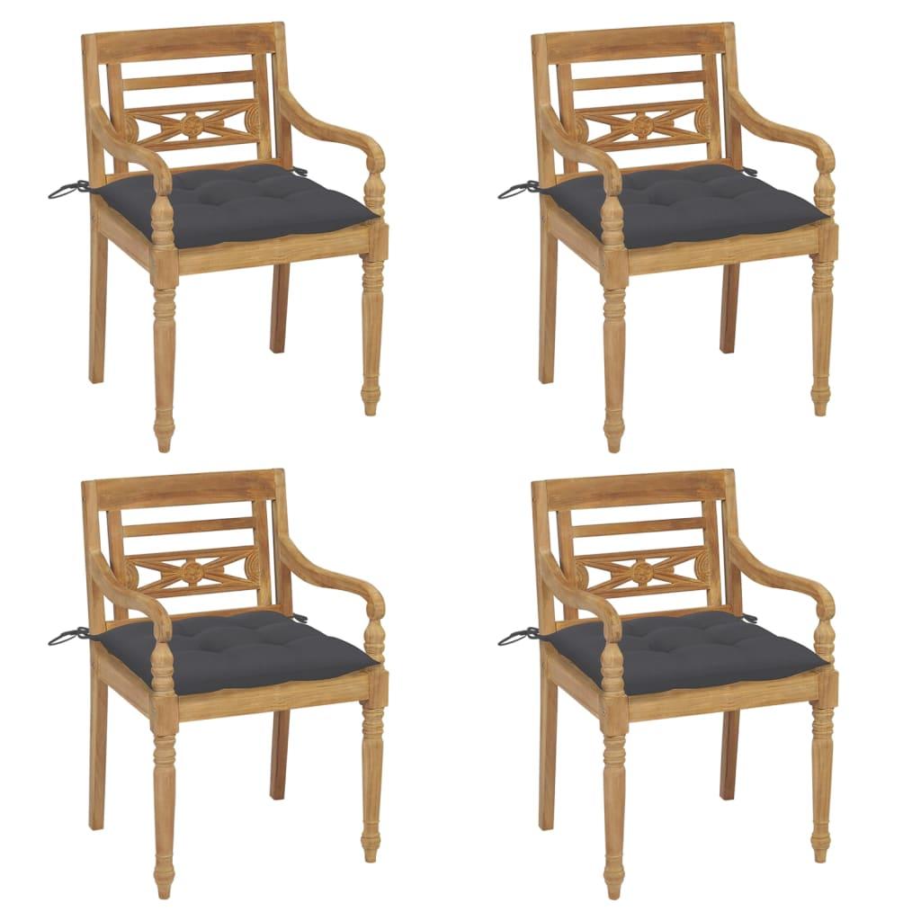 <ul><li>Kissen-Farbe: Anthrazit</li><li>Material des Stuhls: fein geschliffenes Teak-Massivholz</li><li>Kissen-Material: Stoff (100% Polyester)</li><li>Abmessungen des Stuhls: 55 x 51,5 x 84 cm (B x T x H)</li><li>Abmessungen des Kissens: 50 x 50 x 7 cm (L x B x T)</li><li>Sitztiefe: 51,5 cm</li><li>Sitzhöhe vom Boden: 45 cm</li><li>Armlehnenhöhe vom Boden: 64 cm</li><li>Mit 2 Bänder-Sets</li><li>Montage erforderlich: Ja</li><li><strong>Lieferung enthält:</strong></li><li>4 x Stühle</li><li>4 x Sitzkissen</li></ul>