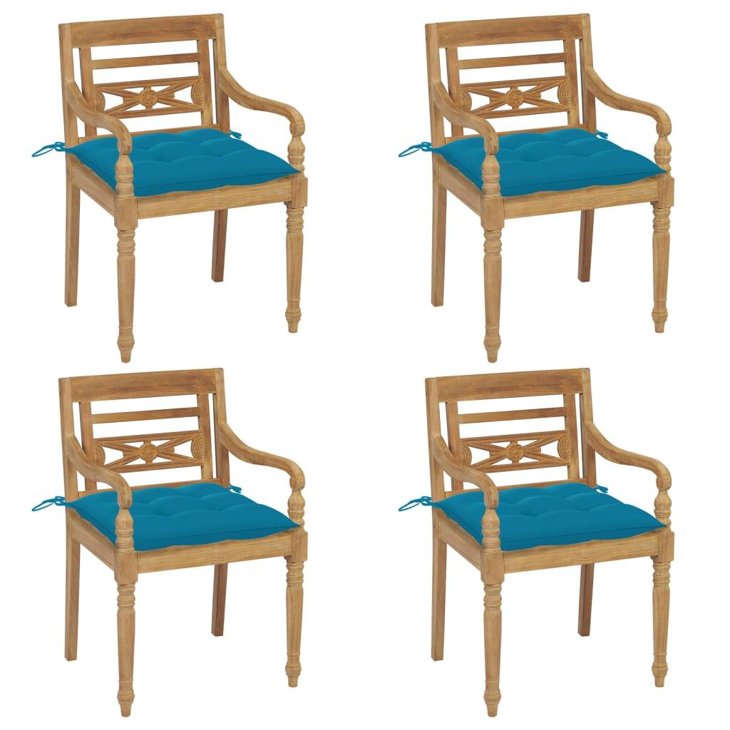 <ul><li>Kissenfarbe: Hellblau</li><li>Material des Stuhls: fein geschliffenes Teak-Massivholz</li><li>Kissen-Material: Stoff (100% Polyester)</li><li>Abmessungen des Stuhls: 55 x 51,5 x 84 cm (B x T x H)</li><li>Abmessungen des Kissens: 50 x 50 x 7 cm (L x B x T)</li><li>Sitztiefe: 51,5 cm</li><li>Sitzhöhe vom Boden: 45 cm</li><li>Armlehnenhöhe vom Boden: 64 cm</li><li>Mit 2 Bänder-Sets</li><li>Montage erforderlich: Ja</li><li><strong>Lieferung enthält:</strong></li><li>4 x Stühle</li><li>4 x Sitzkissen</li></ul>