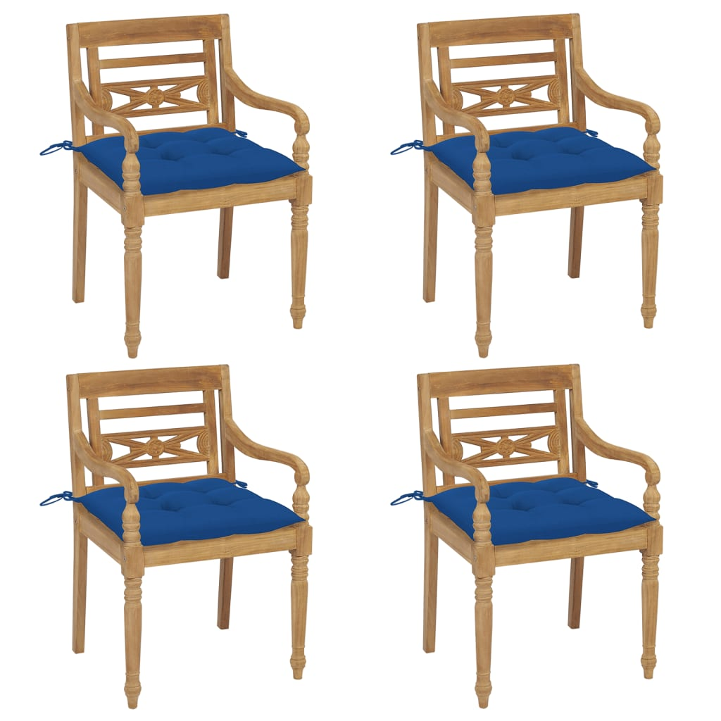 <ul><li>Polster-Farbe: Blau</li><li>Material des Stuhls: fein geschliffenes Teak-Massivholz</li><li>Kissen-Material: Stoff (100% Polyester)</li><li>Abmessungen des Stuhls: 55 x 51,5 x 84 cm (B x T x H)</li><li>Abmessungen des Kissens: 50 x 50 x 7 cm (L x B x T)</li><li>Sitztiefe: 51,5 cm</li><li>Sitzhöhe vom Boden: 45 cm</li><li>Armlehnenhöhe vom Boden: 64 cm</li><li>Mit 2 Bänder-Sets</li><li>Montage erforderlich: Ja</li><li><strong>Lieferung enthält:</strong></li><li>4 x Stühle</li><li>4 x Sitzkissen</li></ul>