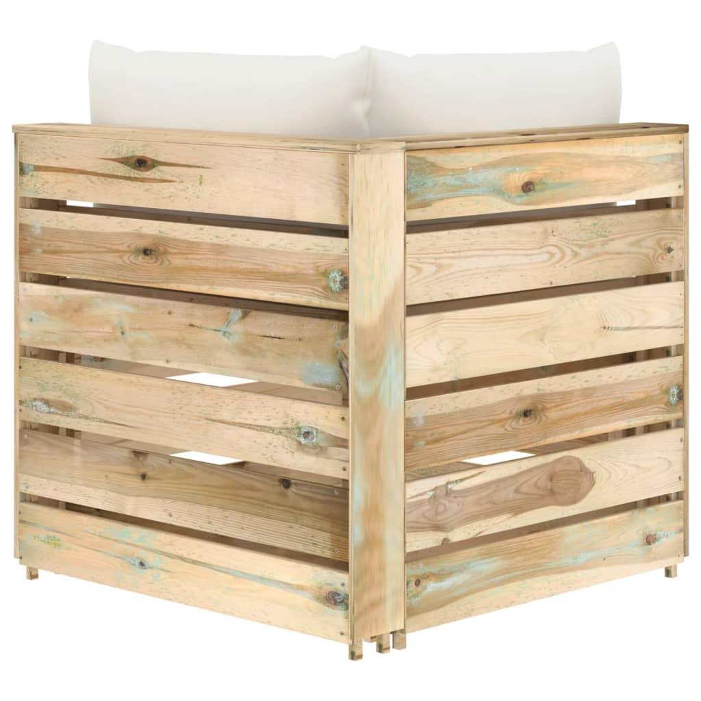 vidaXL Hoekbank sectioneel met kussens groen geïmpregneerd hout