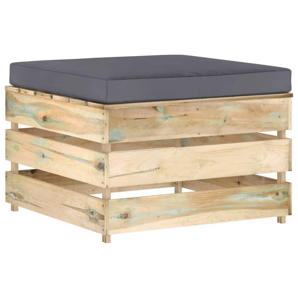 Dílčí taburet s poduškou zeleně impregnované dřevo