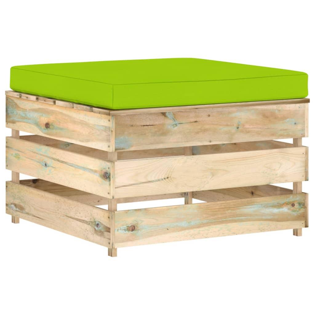 Hocker sectioneel met kussen groen geïmpregneerd hout