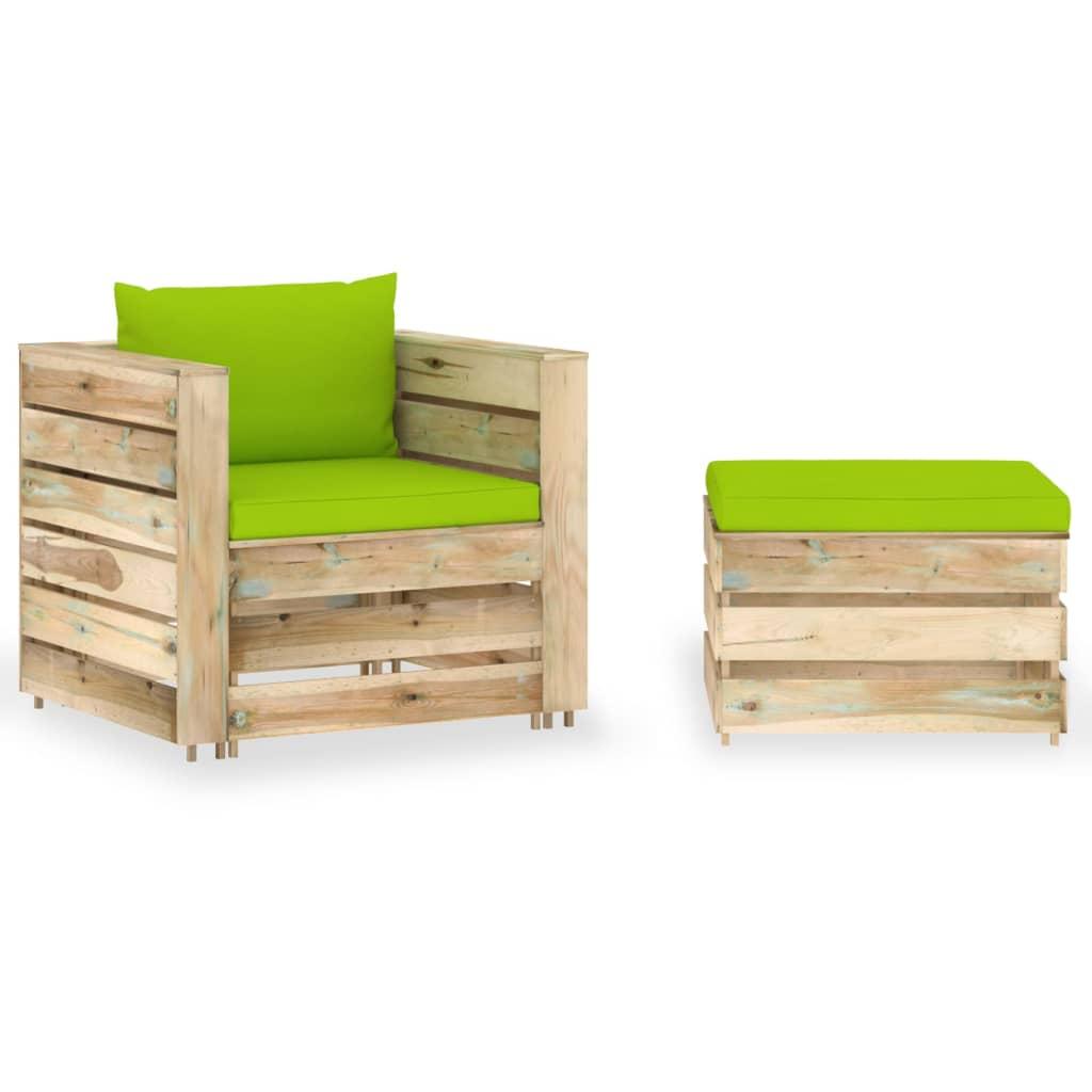 vidaXL 2-delige Loungeset met kussens groen geïmpregneerd hout