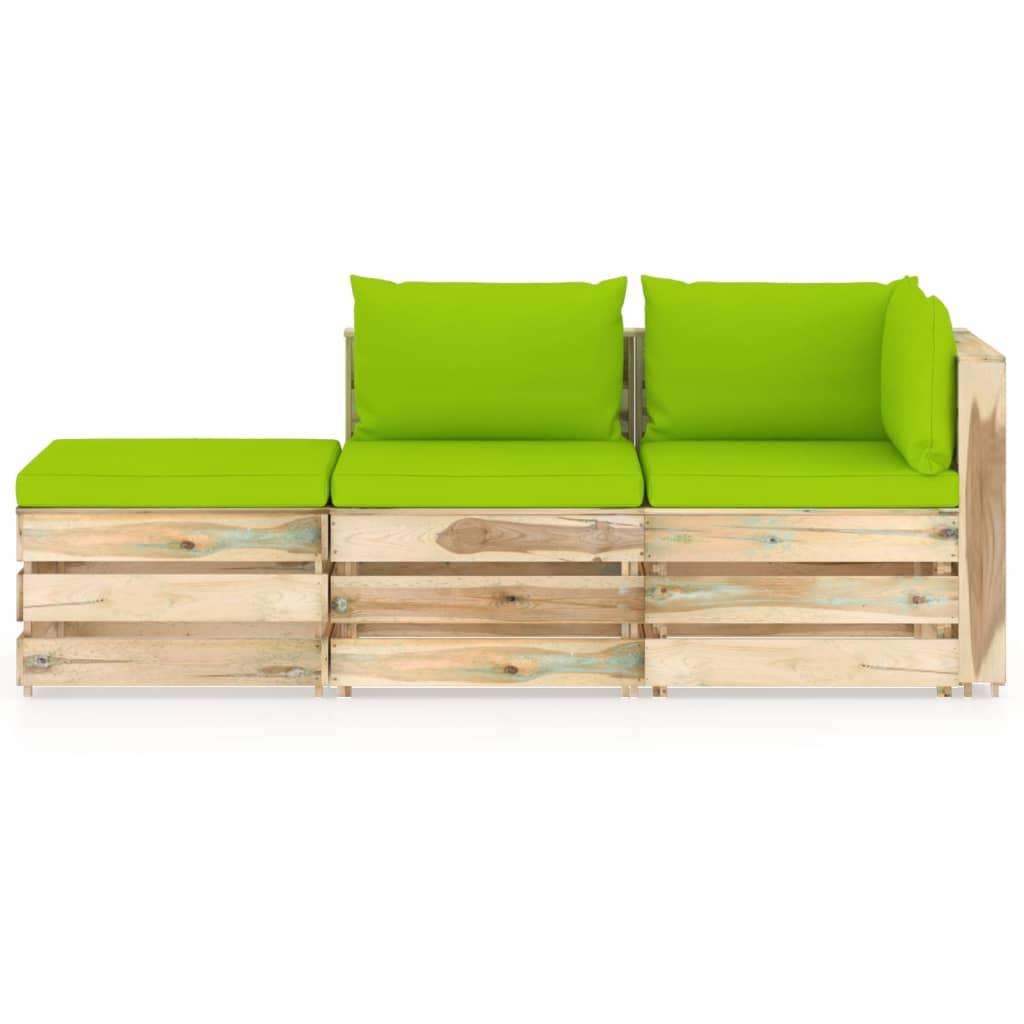 vidaXL 3-delige Loungeset met kussens groen geïmpregneerd hout