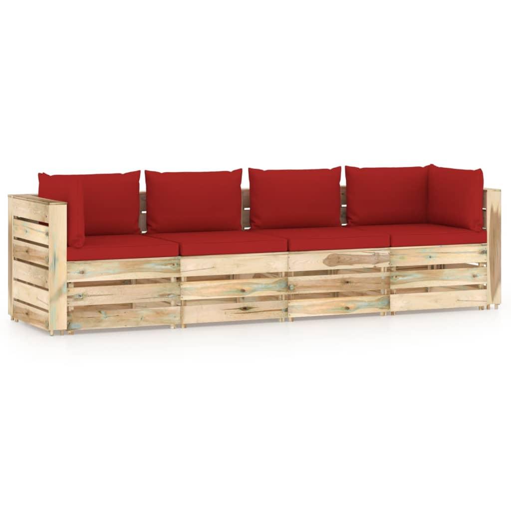 vidaXL 4-Sitzer-Gartensofa mit Kissen Grün Imprägniertes Holz