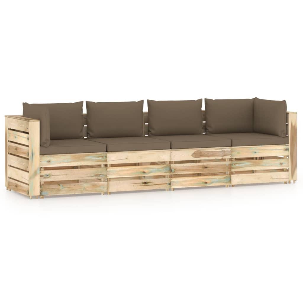 Tuinbank 4-zits met kussens groen geïmpregneerd hout