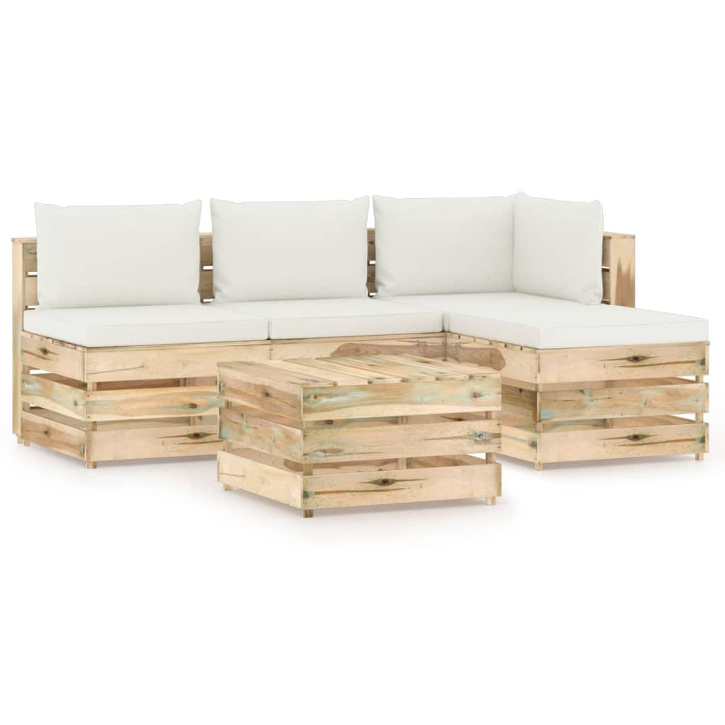5-delige Loungeset met kussens groen geïmpregneerd hout