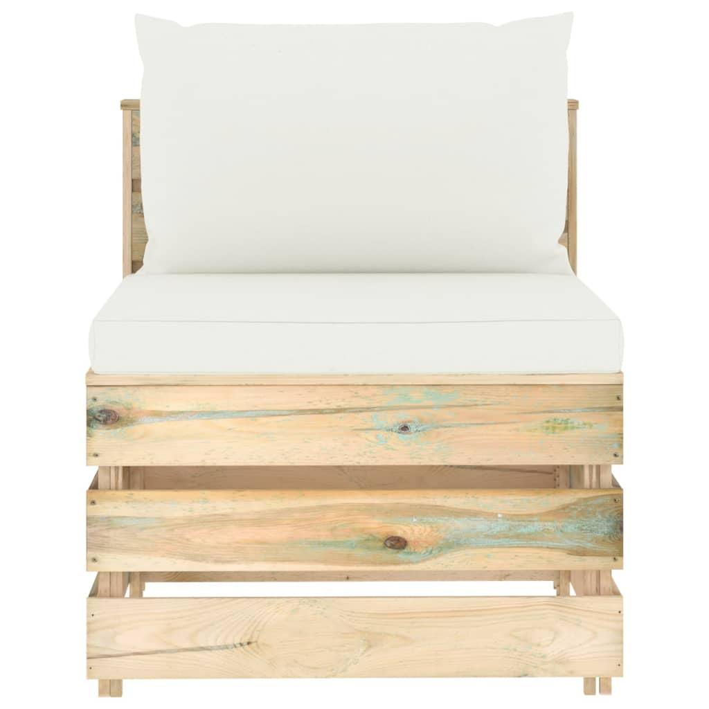 vidaXL 5-delige Loungeset met kussens groen geïmpregneerd hout