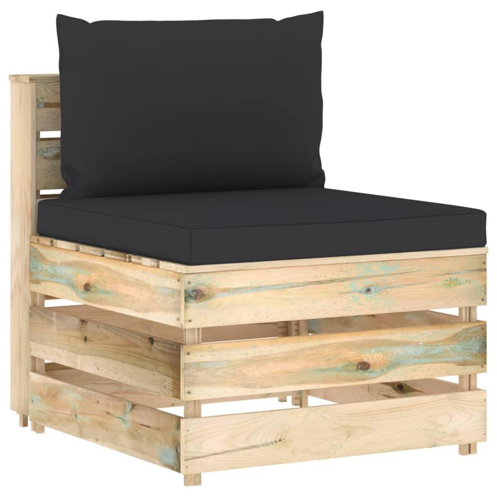 6-delige Loungeset met kussens groen geïmpregneerd hout